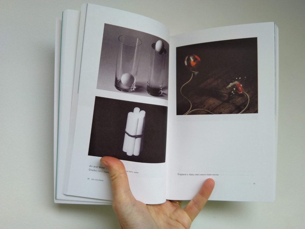 Two pages from the book Certain Trees, showing photos of works by Les Colman.