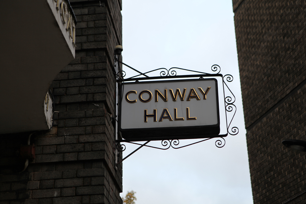 The sign outside Conway Hall.