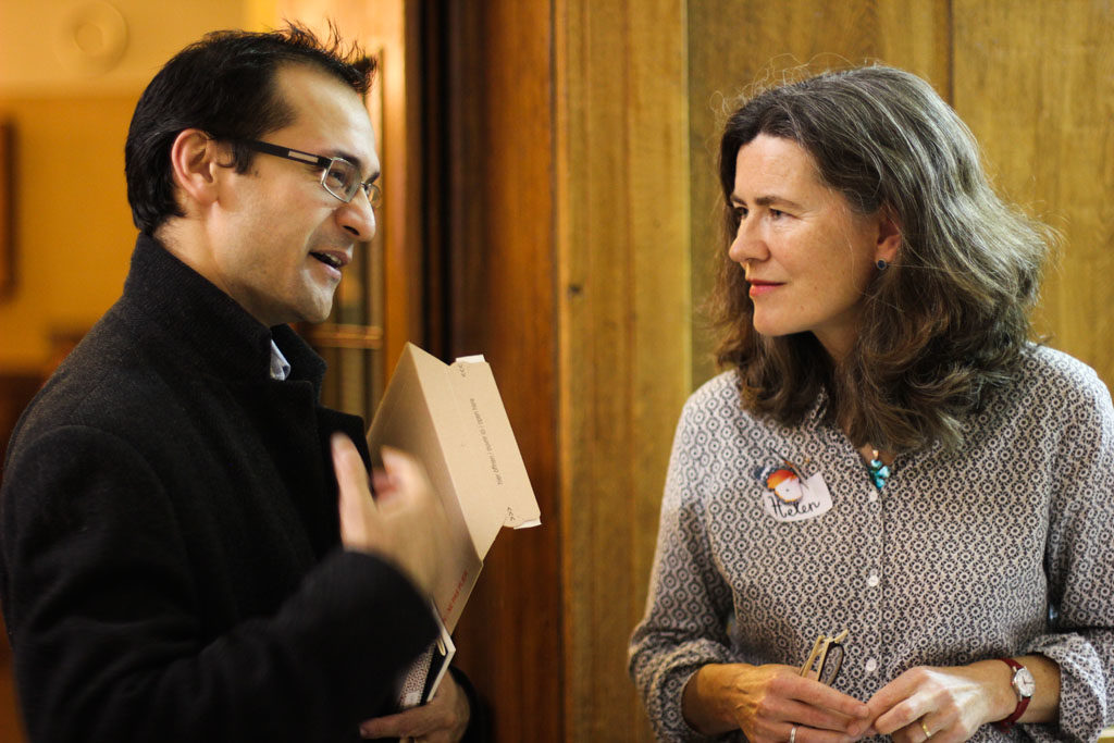 Helen Mitchell is director and organiser of Small Publishers Fair. Here she is seen talking with Michael Caines of TLS.