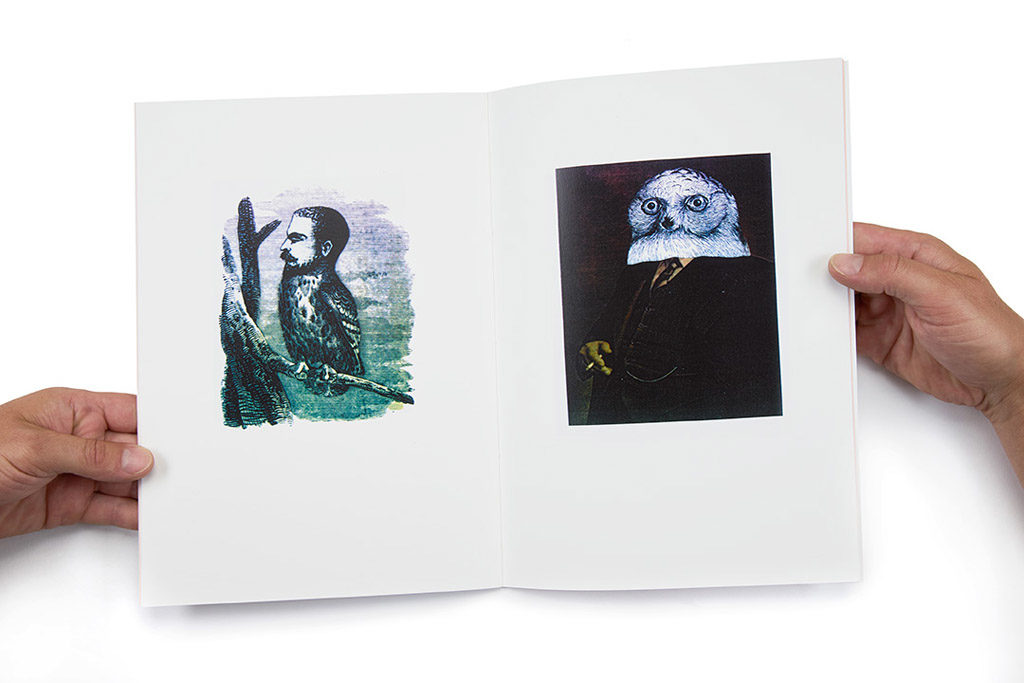 Spread of two pages from the artist's book Owlman / manowls by Daniel Lehan.