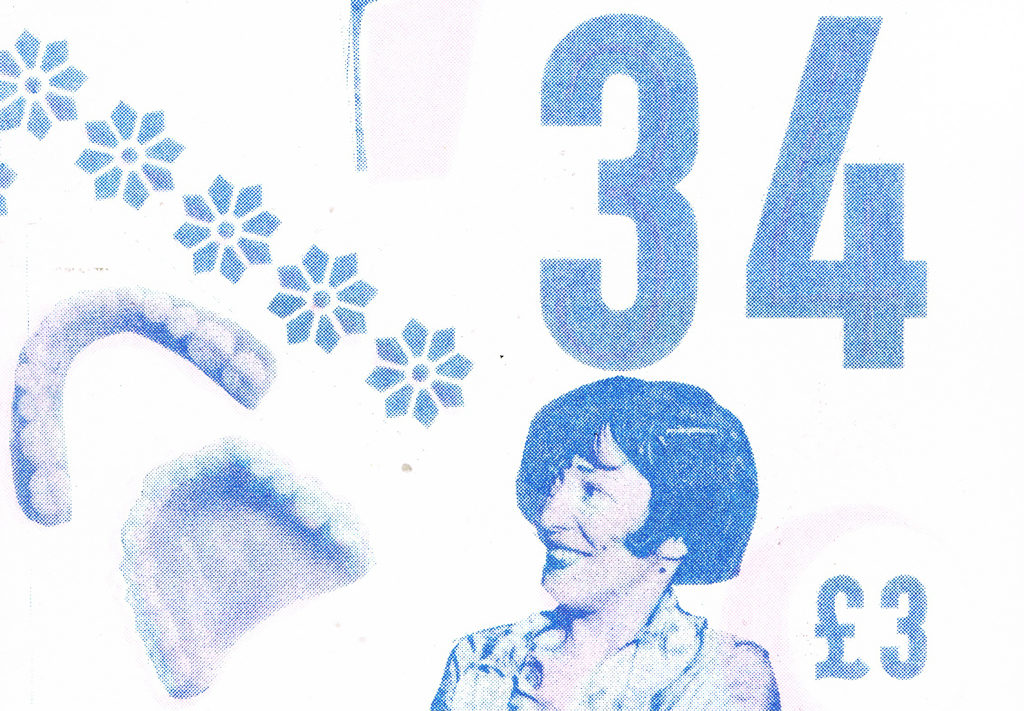 A detail from the cover of Clod issue 34 showing a smiling woman, printed flowers and false teeth.