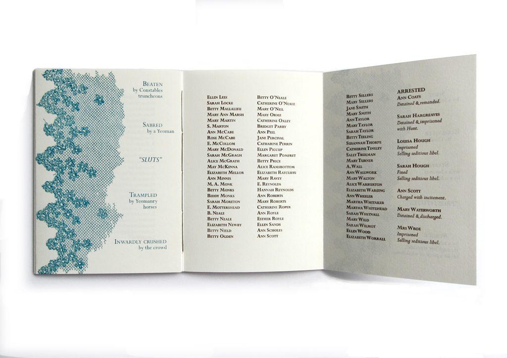 A spread from Christine McCauley's compendium portfolio The Peterloo Massacre. Photo by Christine McCauley